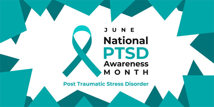 PTSD Awareness Month. National Post Traumatic Stress Disorder Month in June. Vector banner, poster, card for social media. The horizontal composition. Takes place in the United States.