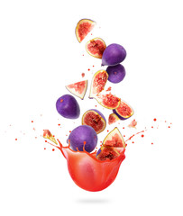 Fototapete - Whole and sliced ripe figs are falling in splashes of juice on a white background