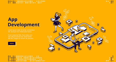 Mobile app development isometric landing page. User experience, ui ux phone interface design creation. Tiny people at huge smartphone work on gadget software application, 3d vector line art web banner