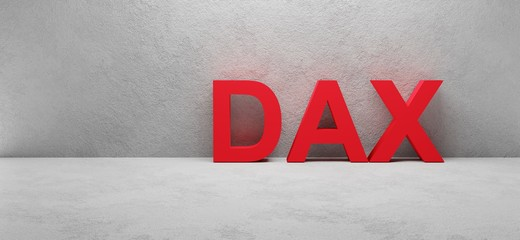 cgi render illustration of the word DAX infront of a white concrete wall