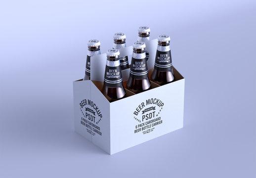 6 Pack Cardboard Beer Bottle Carrier Mockup