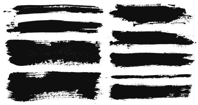 Brush strokes. Vector paintbrushes set. Grunge design elements