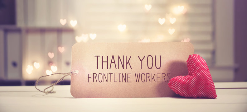 Thank You Frontline Workers message with a red heart with heart shaped lights