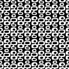"""Black and white Mid-Century Modern """"Tiki"""" pattern, repeatable and seamless."""