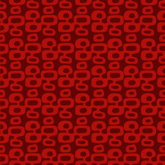"Dark red and orange Mid-Century Modern ""Tiki"" pattern, repeatable and seamless."