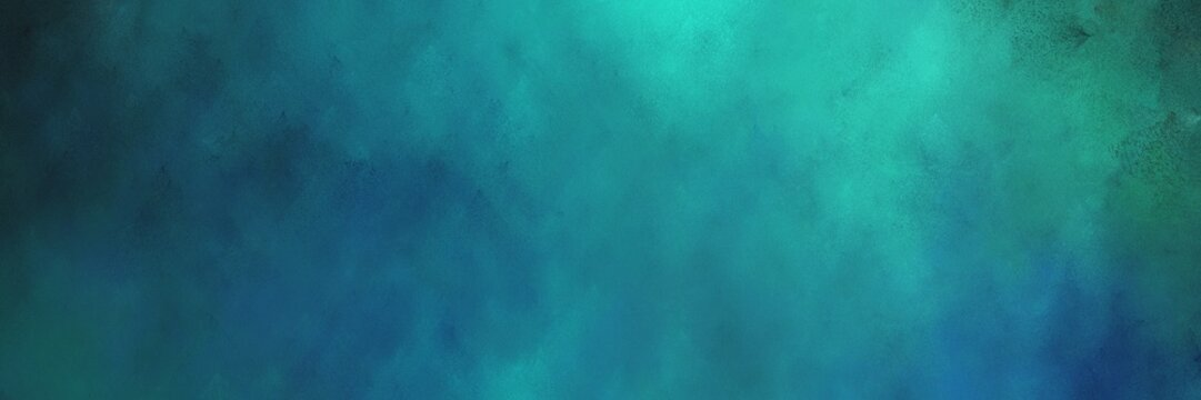 beautiful vintage abstract painted background with teal blue, light sea green and very dark blue colors and space for text or image. can be used as horizontal background texture