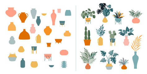 Collection of stickers and floral design elements, plants, rainbow and leaves, hand drawn in trendy doodle style. Colorful vector illustrations and prints