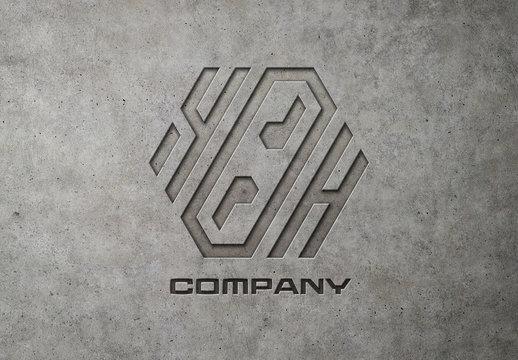 Engraved Logo Mockup on Concrete