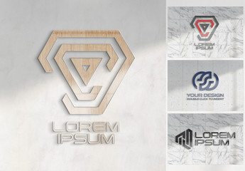 Logo Mockup on Textured Office Wall