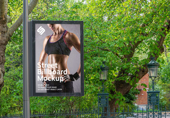 Billboard in a City with Natural Landscape Mockup
