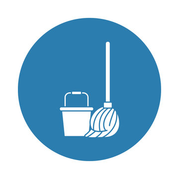 mop and bucket pot silhouette block style