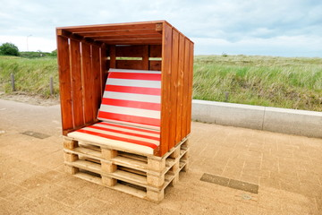 Beach chair, self-made from Euro pallets