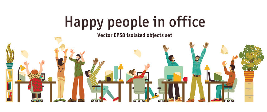 Different happy people in office isolated objects