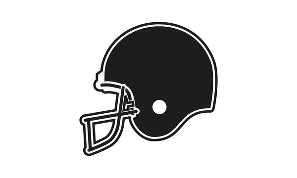 CascoBlack american football helmet, vector icon