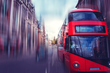 Türaufkleber London roten bus Abstract and Horizontal Motion London City Street View;