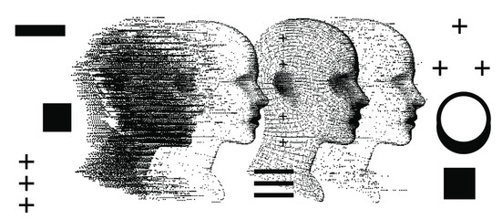 Alter ego concept, alternative self. Person and its doppelganger or twin, dissociative identity disorder. Wall mural
