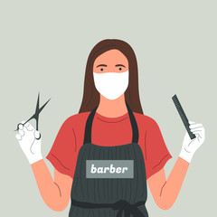 A Barber in a face mask and gloves with scissors and a comb in her hands. Prevention of coronavirus, covid-19, in beauty salons. Hair care at home.