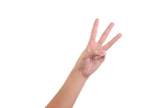 woman hand showing number three isolated on white background