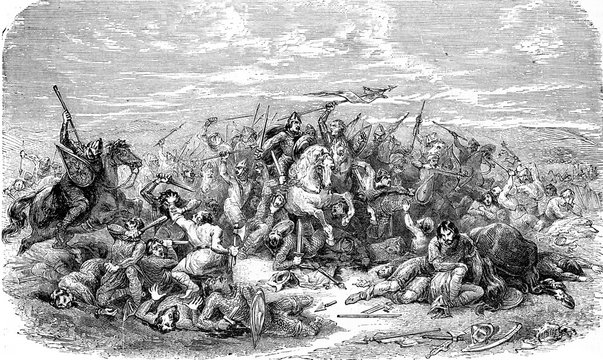 Battle of Hastings, vintage illustration.