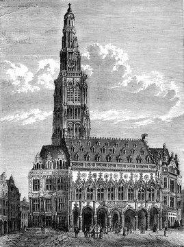 Arras Town Hall, vintage illustration.