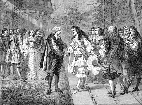 Interview with Louis XIV and Philippe IV, on the pheasant island, vintage illustration.
