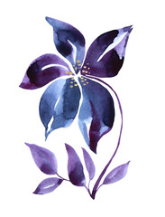 Watercolor hand-drawn purple and blue abstract flower isolated on white background. Art creative nature object for card, wrapping, textile, wallpaper.