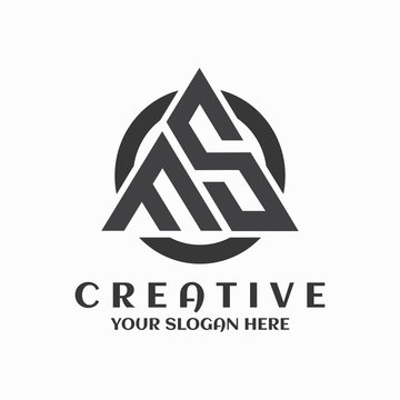 FS logo circle triangle symbol creative design template