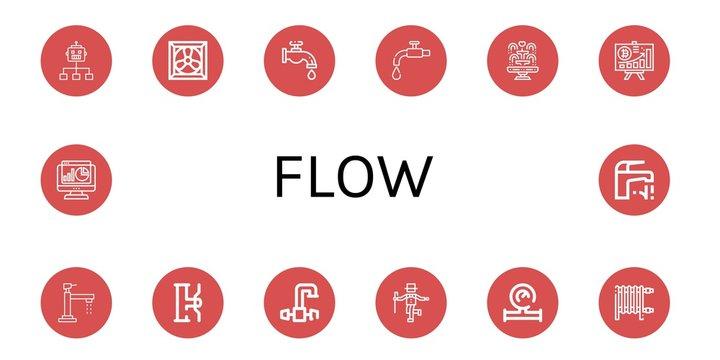 flow simple icons set