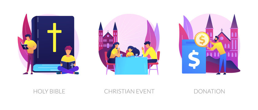 Church congregation lifestyle symbols. Sacred book, religious ceremonies and financial contribution. Holy bible, christian event, donation metaphors. Vector isolated concept metaphor illustrations