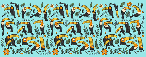 Toucans, paradise tropical bird for your design