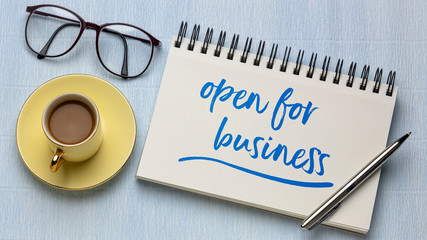 open for business handwriting in notebook