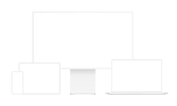 Modern clay devices mockups: desktop PC, laptop, tablet computer, smartphone. Vector illustration
