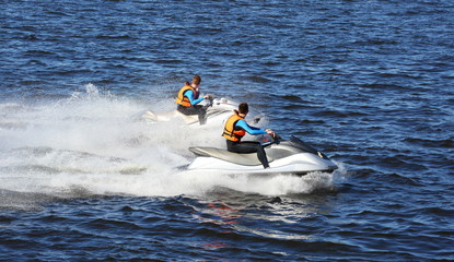 Garden Poster Water Motor sports Two people on the jet ski