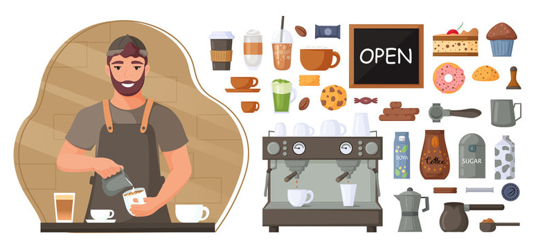 Barista makes a coffee. Coffee shop concept. Collection of coffee maker elements, sweets and coffee. Vector illustration.