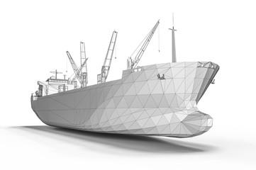 3D render representing development of a ship vessel