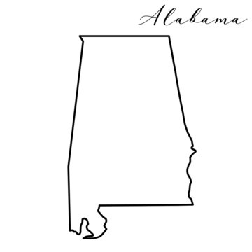 Vector high quality map of the American state of Alabama simple hand made line drawing map