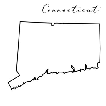Vector high quality map of the American state of Connecticut simple hand made line drawing map