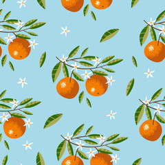 Seamless pattern with Oranges, Flowers and Leaves. Repeated background. Vector print for fabric or wallpaper.