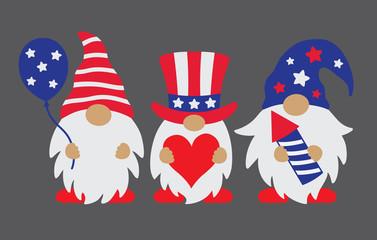 Vector illustration of patriotic gnomes celebrating 4th of July.