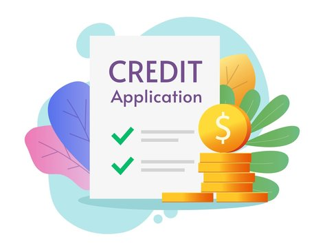 Credit loan application form approved or success paper claim financial document for borrowing money and cash vector flat illustration, concept of mortgage apply and verification colorful design