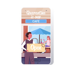 waiter holding open sign board coronavirus quarantine is ending victory over covid-19 concept street cafe exterior smartphone screen mobile app copy space vector illustration