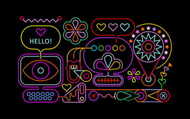 Ingelijste posters Abstractie Art Neon colors isolated on a black background Abstract Design vector illustration.