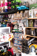 Barcelona, Spain - January 13, 2020: Modern comfortable different variation of goods for animals in pet shop