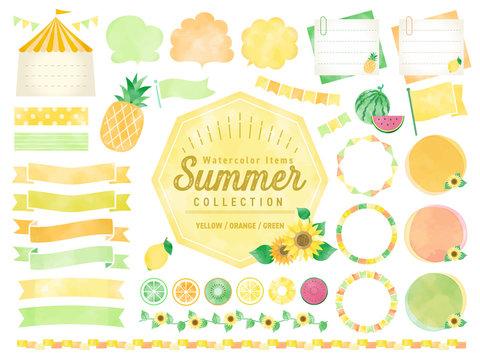 夏、水彩、ひまわり、黄色、フレーム 、バナー、吹き出し