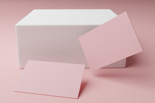 Pink pastel business card paper mockup template with blank space cover for insert company logo or personal identity on cardboard background. Modern style stationery concept. 3D illustration render