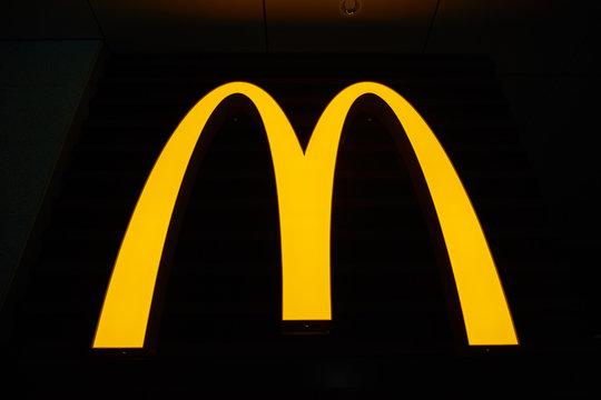 SHENZHEN, CHINA - CIRCA FEBRUARY, 2019: Golden Arches sign at McDonald's restaurant in Shenzhen, China.