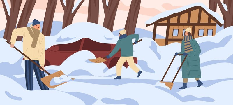 Group of colorful people remove snow at yard vector flat illustration. Active man and woman work outdoors together holding shovel. Person cleaning snowdrifts at backyard area after blizzard