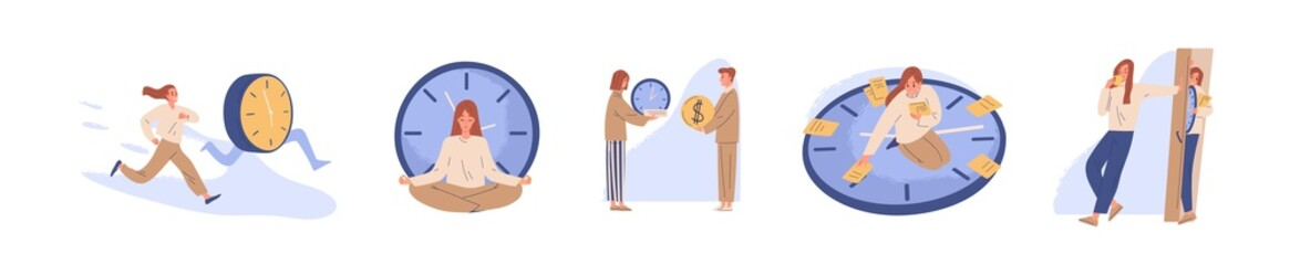 Spoed Fotobehang Hoogte schaal Concept of interaction people and time set vector flat illustration. Collection of man and woman business timing, earn money, self organization, missed opportunities, day planning isolated on white