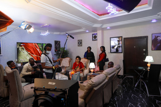 The cast and crew of Meadows are seen on set during production of the series, following the relaxation of lockdown, amid the coronavirus disease (COVID-19) outbreak in Abuja