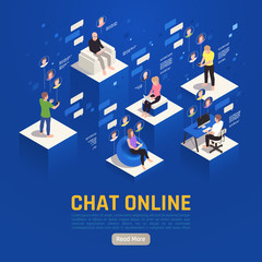 Spoed Fotobehang Hoogte schaal Chat Online Isometric Background